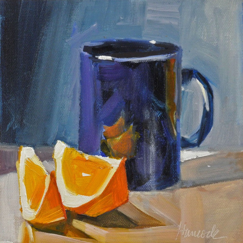 """Blue Cup and Two orange Slices"" original fine art by Gretchen Hancock"