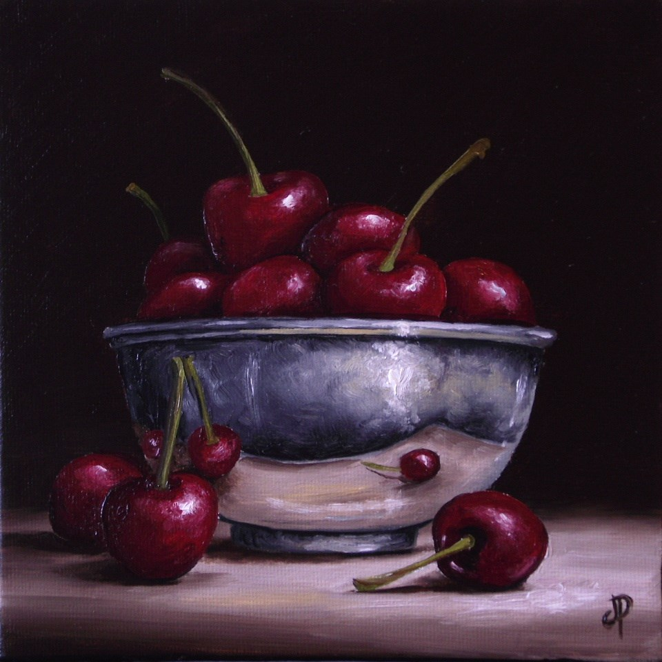 """Silver bowl with Cherries"" original fine art by Jane Palmer"