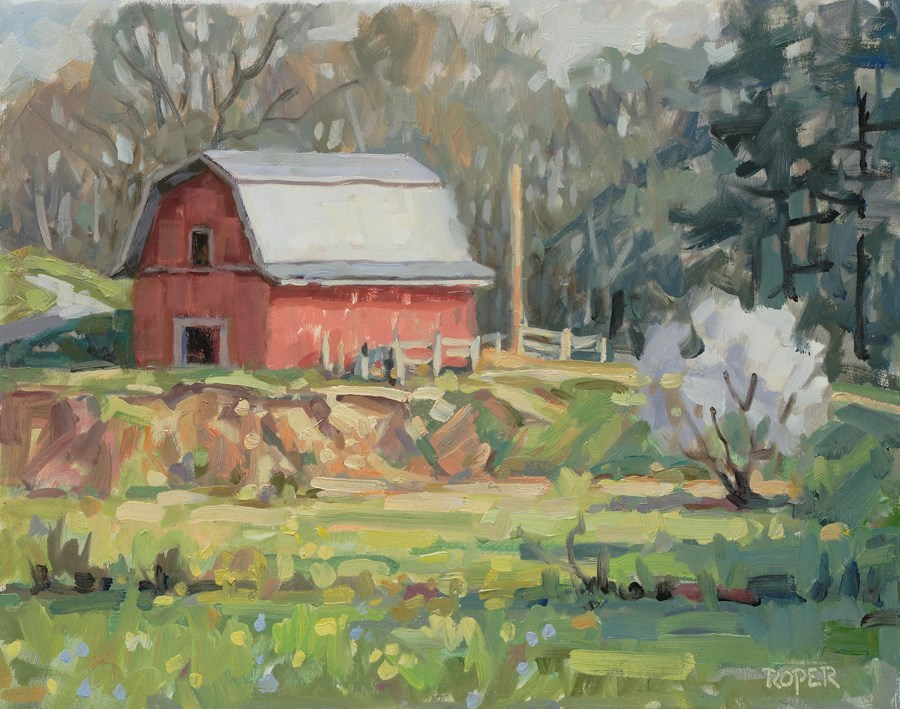 """DAY 21: Spring At The Old Red Barn"" original fine art by Stuart Roper"