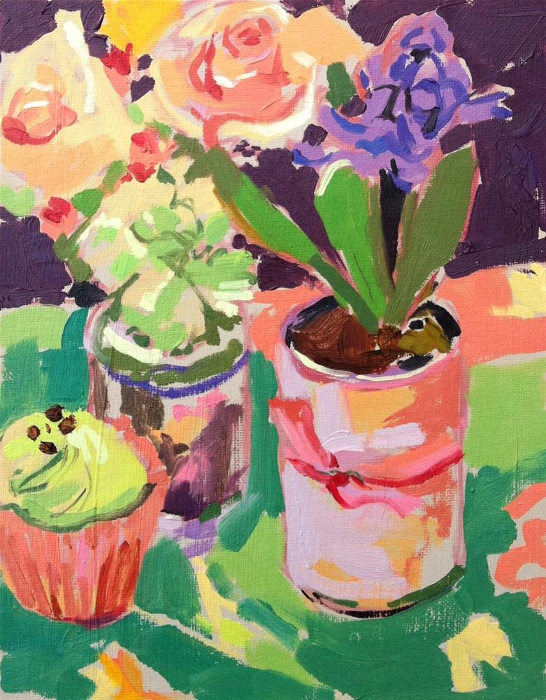 """Cupcake, rose and hyacinth"" original fine art by Haidee-Jo Summers ROI"