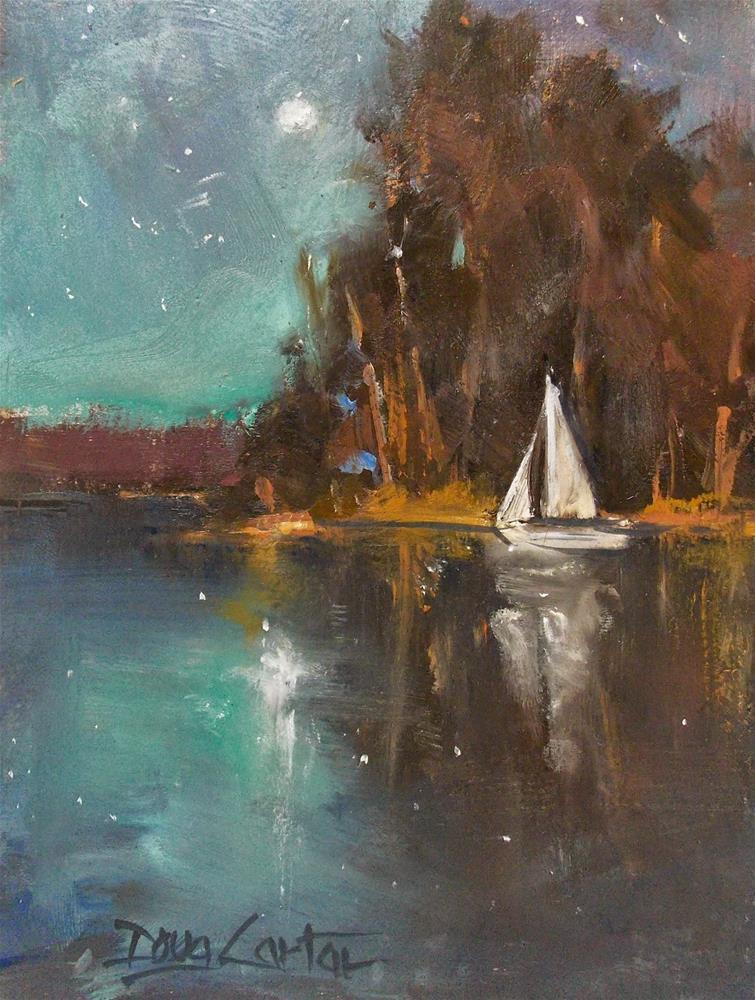 """ Moonlit Sail"" original fine art by Doug Carter"