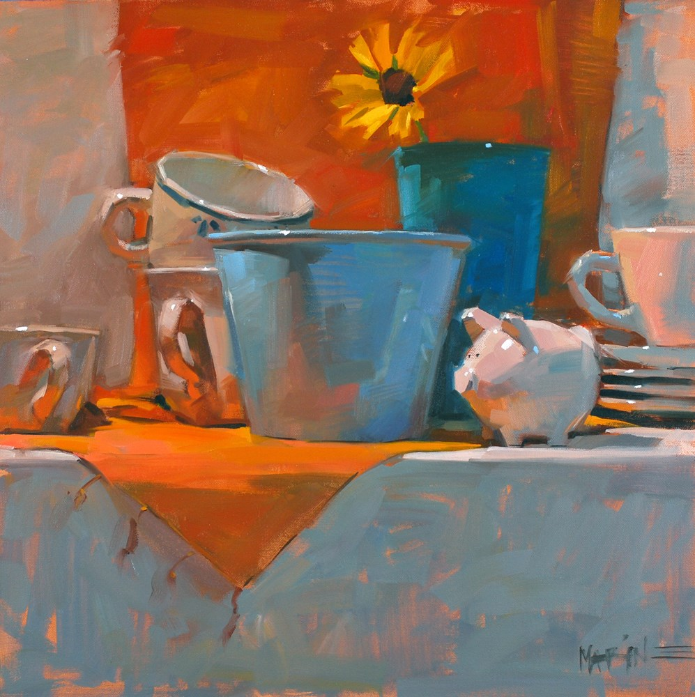 """Browsing Through Dishes"" original fine art by Carol Marine"