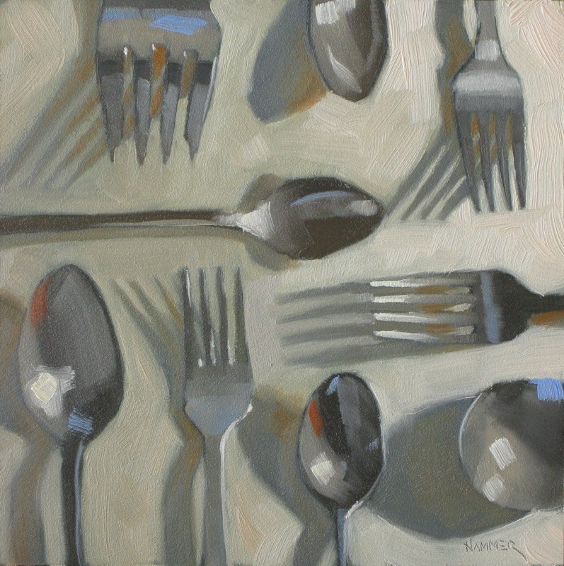 """""""Forks spoons and shadows 6x6 oil"""" original fine art by Claudia Hammer"""