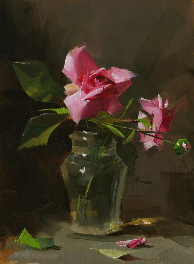 """""""Captain's Roses --- Sold"""" original fine art by Qiang Huang"""