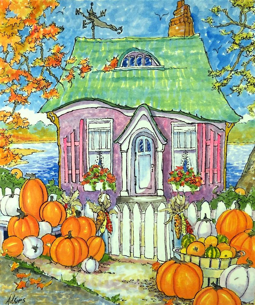 """Purveyors of Perfect Pumpkins Storybook Cottage Series"" original fine art by Alida Akers"