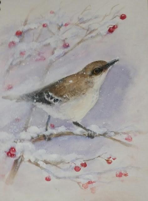 """""""Winter Bird"""" original fine art by Wendy Starita"""