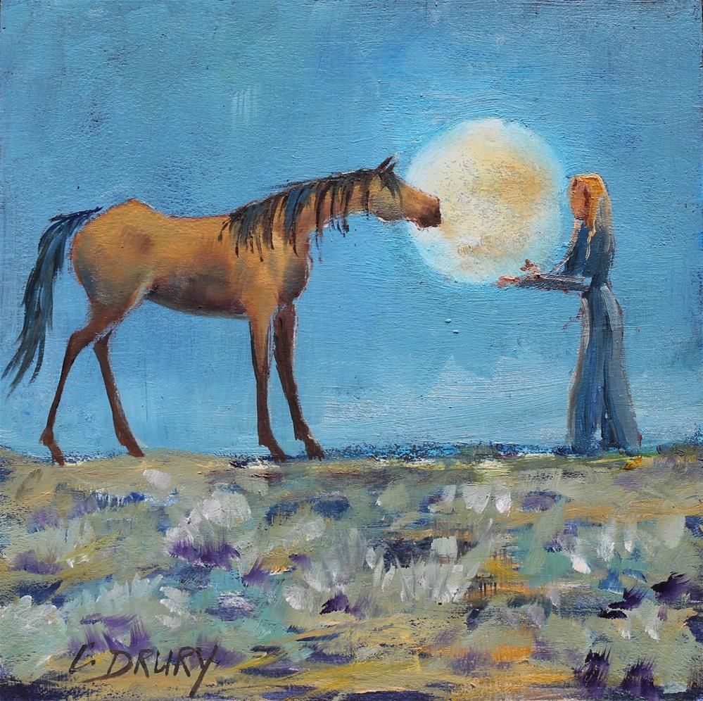 """""""Over The Moon For You"""" original fine art by Colleen Drury"""