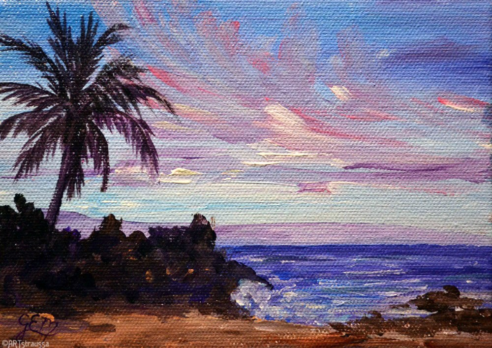 """SALE!!!Evening Cove"" original fine art by Gloria Ester"