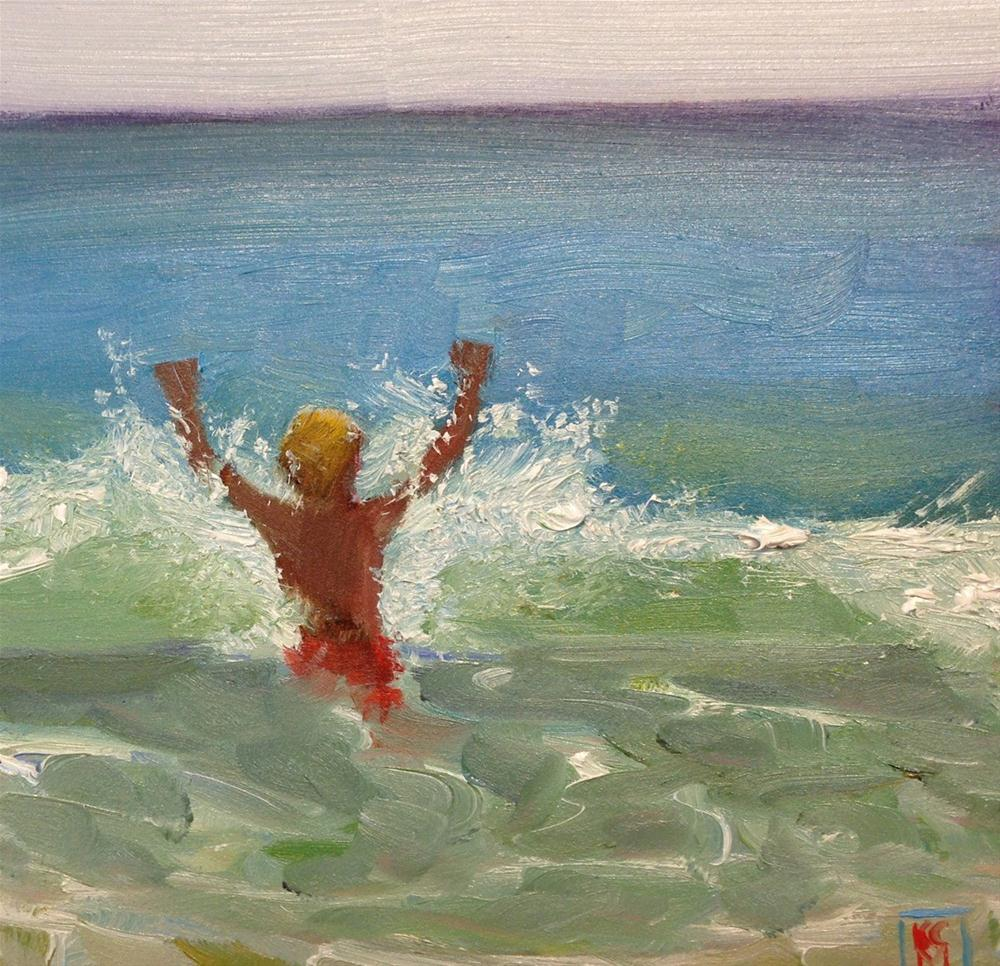 """""""Into The Wave, 6x6 Inch Oil Painting by Kelley MacDonald"""" original fine art by Kelley MacDonald"""