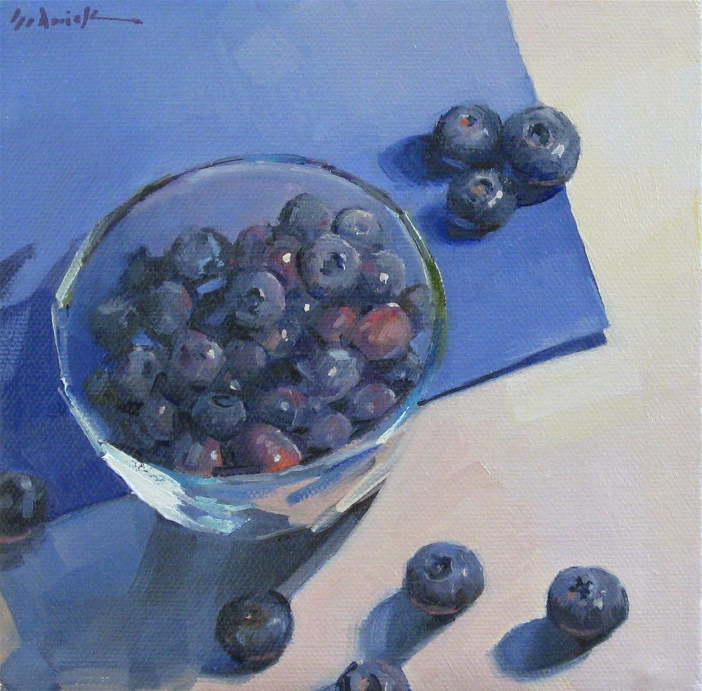 """Blueberries on Blue fruit still life original oil painting"" original fine art by Sarah Sedwick"