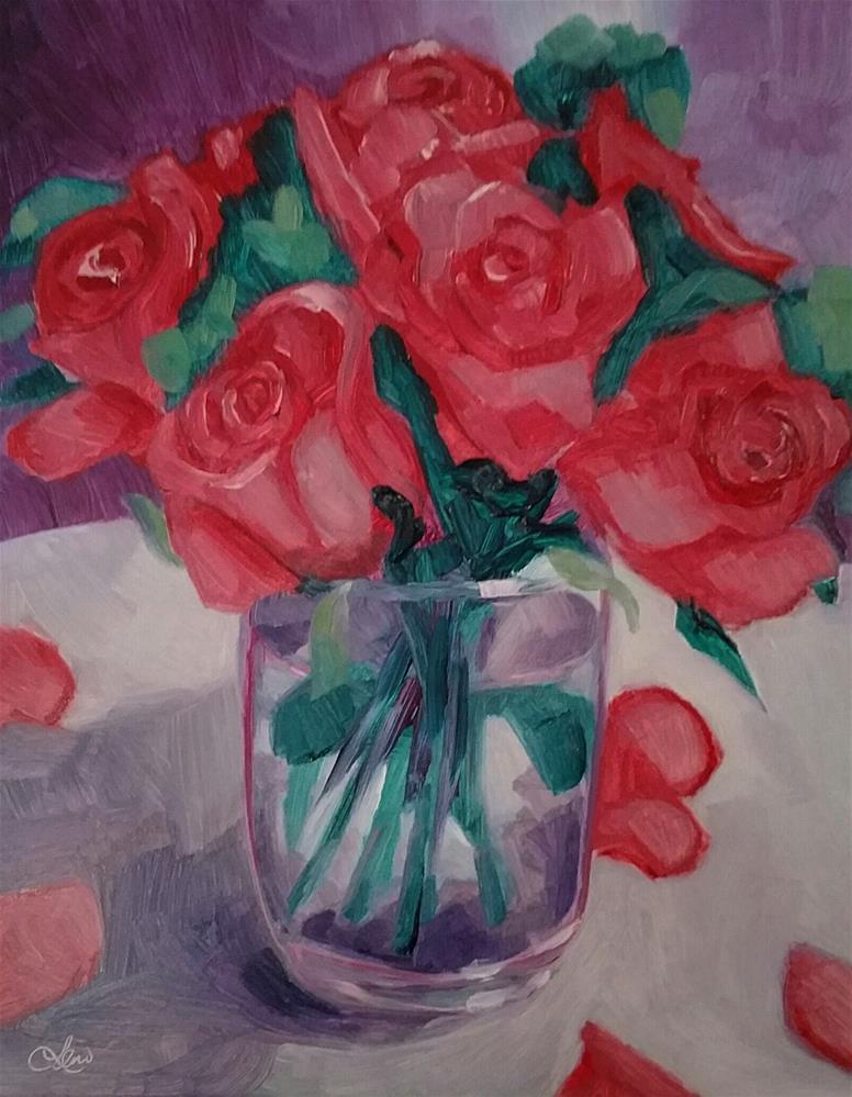 """Roses in  a Glass"" original fine art by Leni Tarleton"