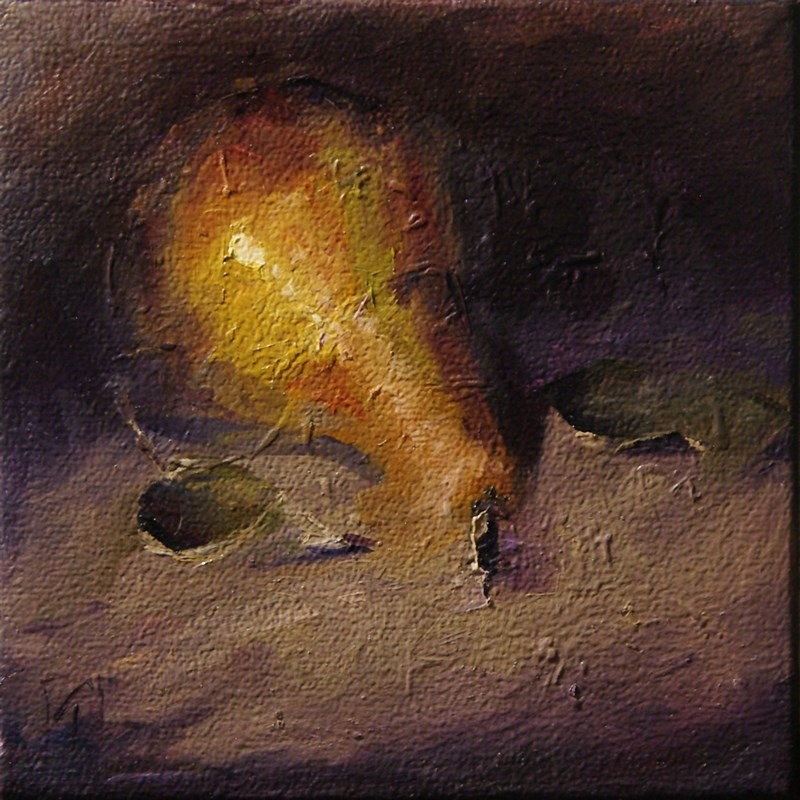"""Pear 4 Final Bow"" original fine art by Lori Twiggs"