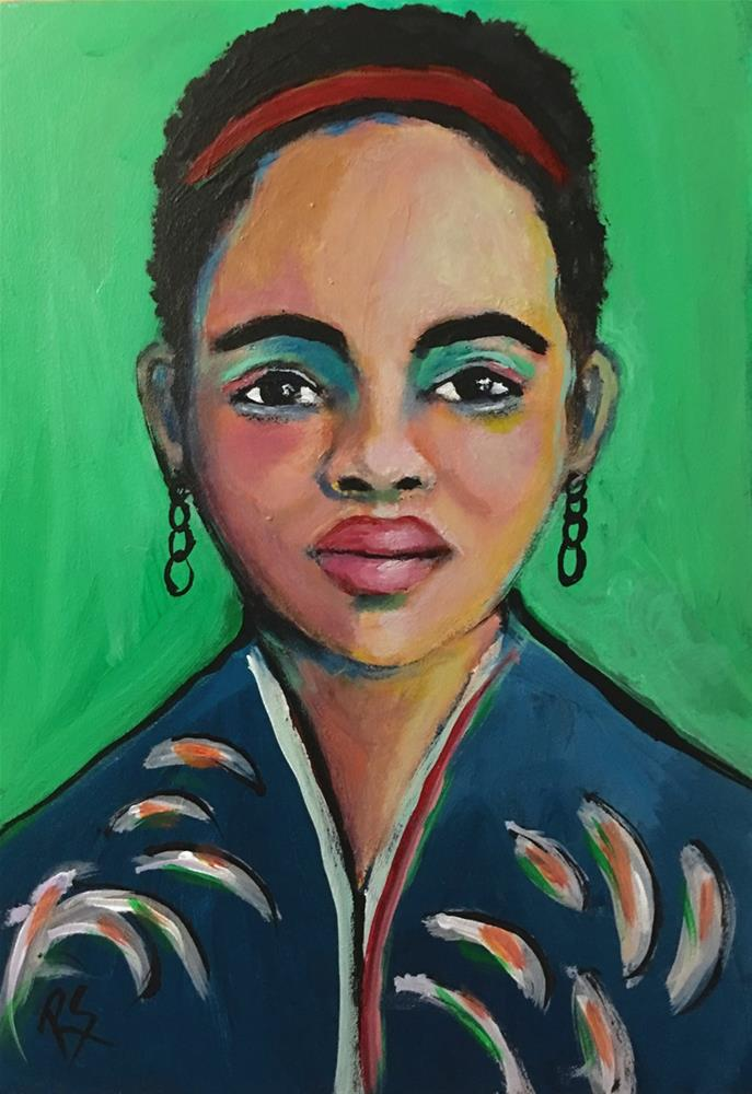 """Inira - Original Portrait Painting"" original fine art by Roberta Schmidt ArtcyLucy"