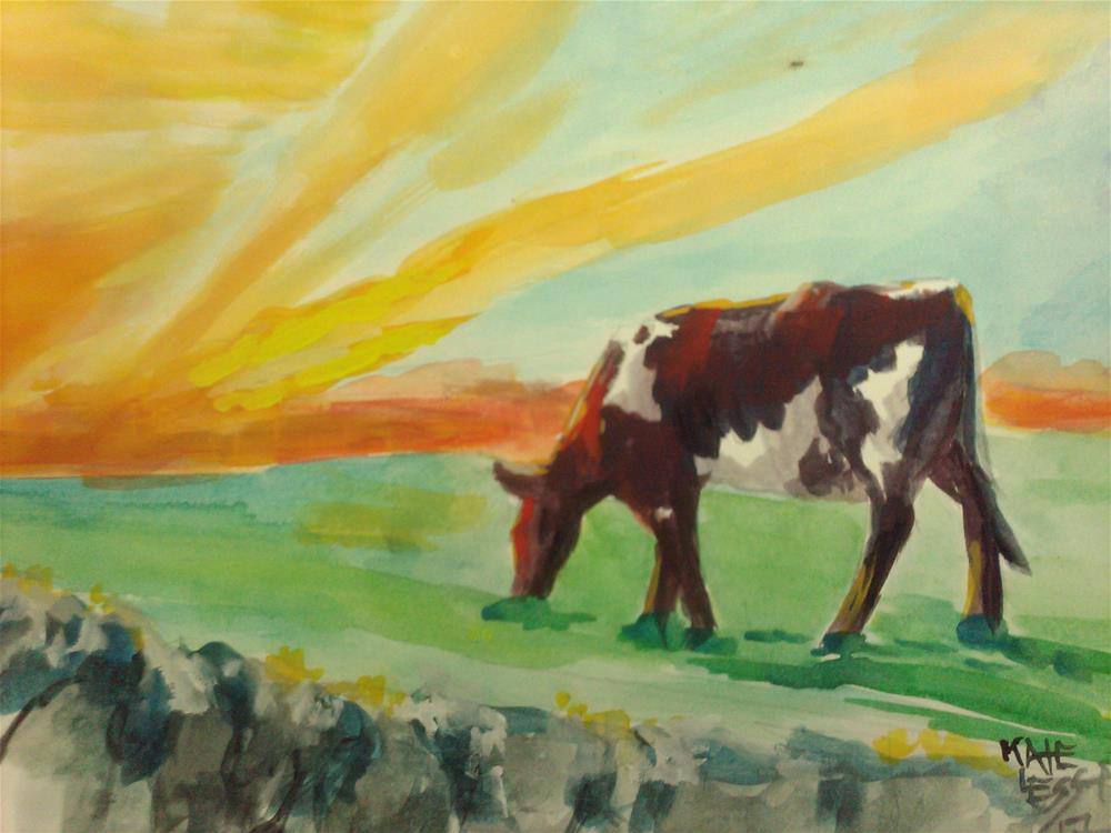 """gouache practice : Sunset"" original fine art by Kate Less-Madsen"