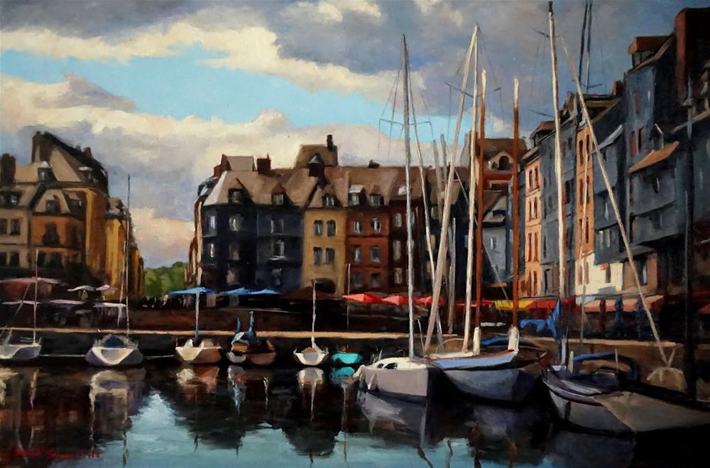 """""""Cloudy Day in Honfleur"""" original fine art by Jonelle Summerfield"""