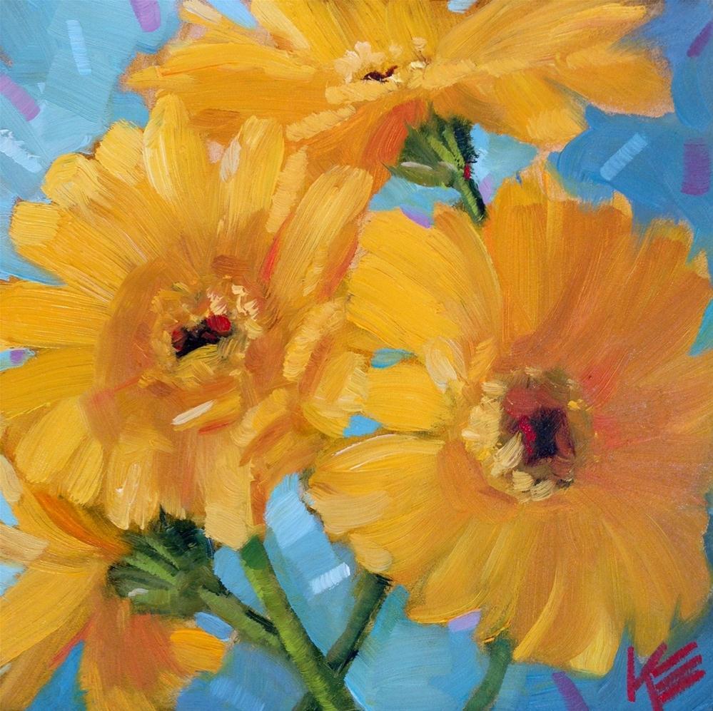 """Yellow Gerbers"" original fine art by Krista Eaton"