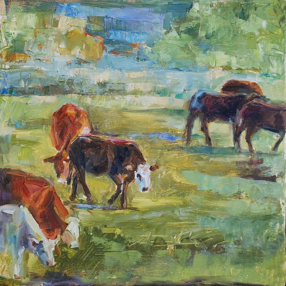 """""""The Gang's All Here - Cows, Original oil by Carol DeMumbrum"""" original fine art by Carol DeMumbrum"""