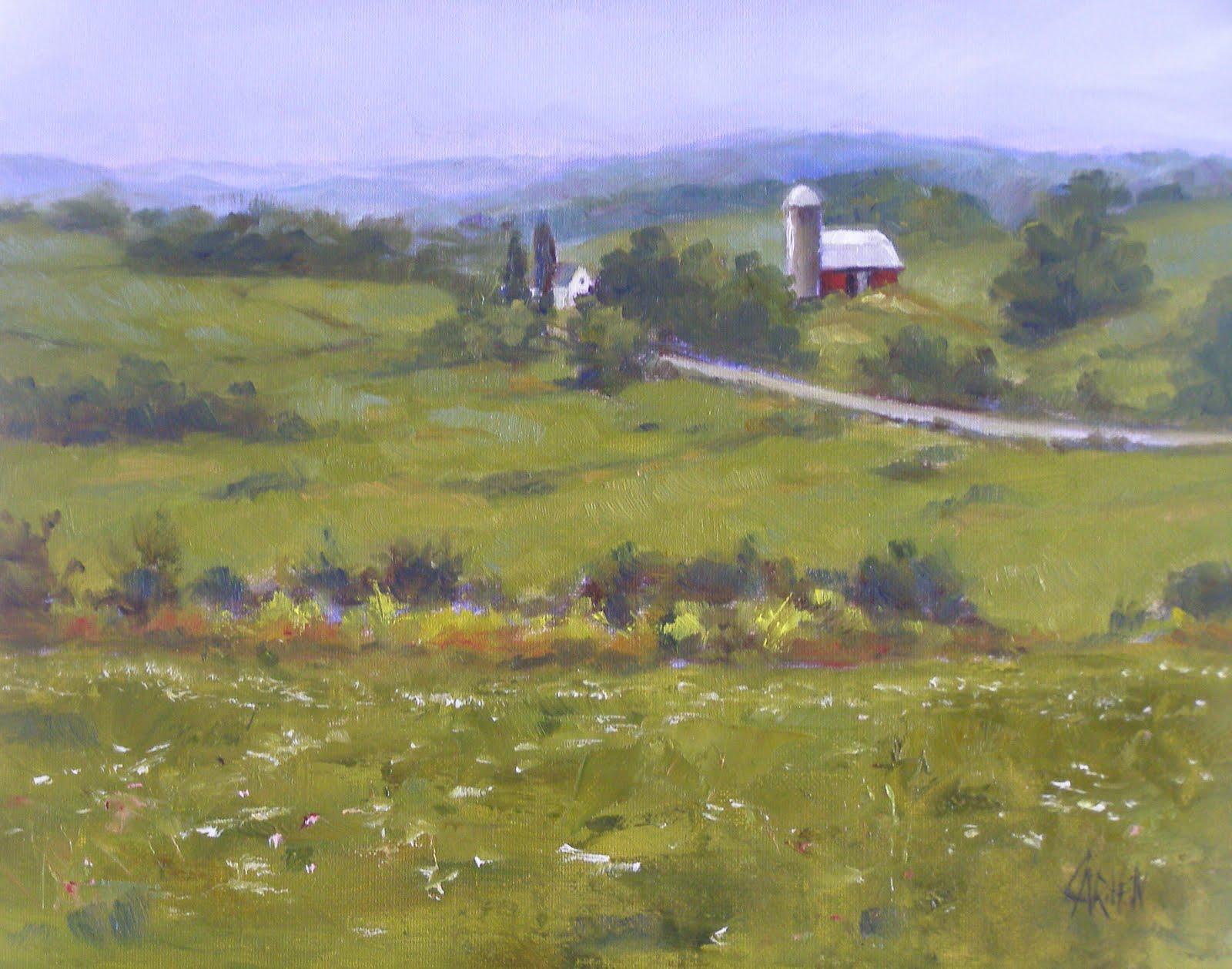 """On the Farm, 8x10 Original Oil on Canvas Board"" original fine art by Carmen Beecher"