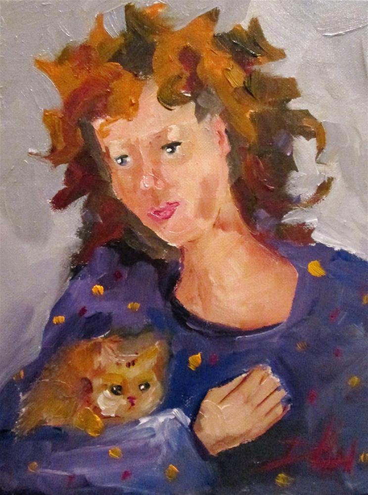 """""""Lady and Kitten"""" original fine art by Delilah Smith"""