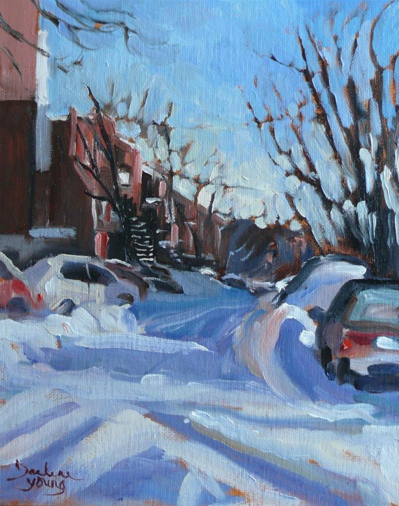 """""""902 Montreal Winter Morning, oil on board, 8x10"""" original fine art by Darlene Young"""