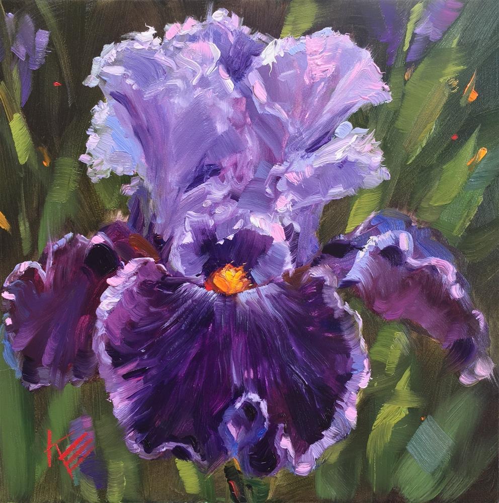 """Tall bearded Iris : captain thunderbolt "" original fine art by Krista Eaton"