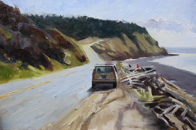 """""""Parked at Ebeys Landing Whidby Island, plein air, landscape painting by Robin Weiss"""" original fine art by Robin Weiss"""