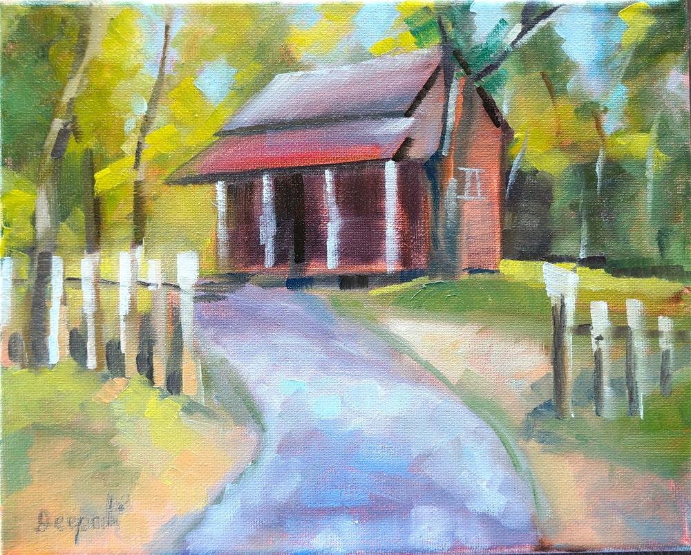 """Red barn"" original fine art by Dipali Rabadiya"