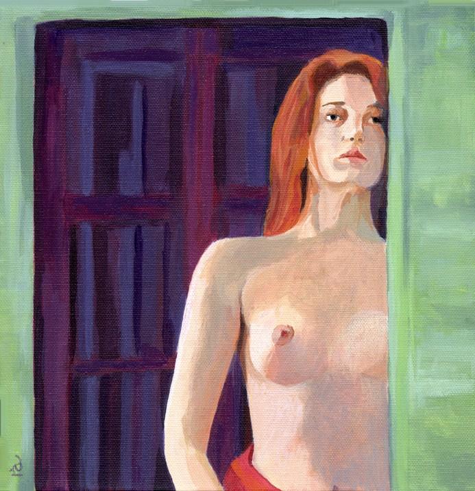 """""""Dawn - acrylic female nude"""" original fine art by Ria Hills"""
