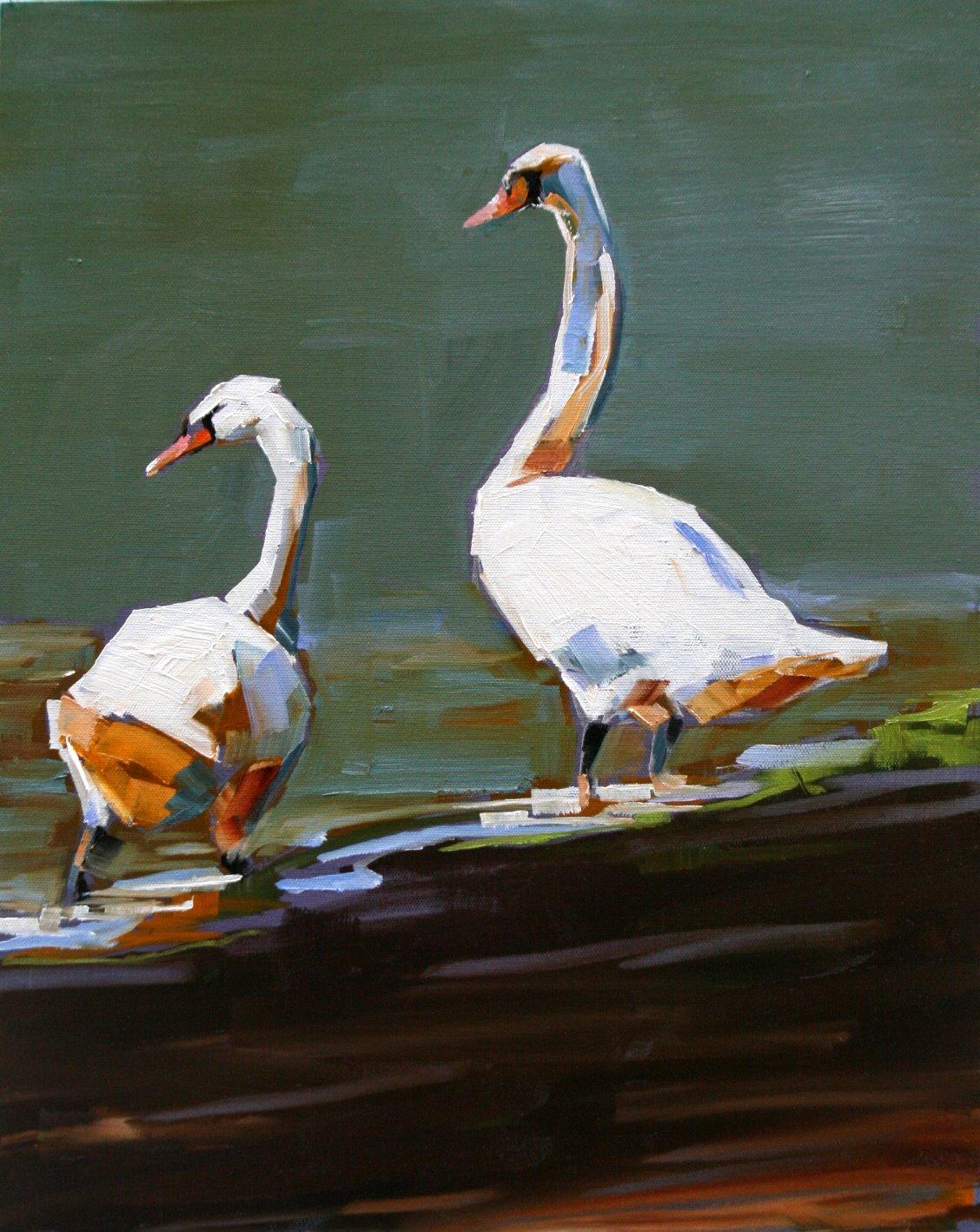 """junaluska swans"" original fine art by Carol Carmichael"