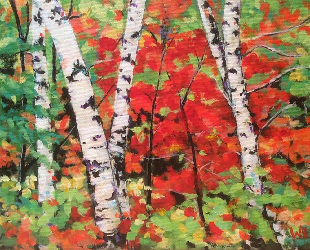 """Fall Birch"" original fine art by wendy black"
