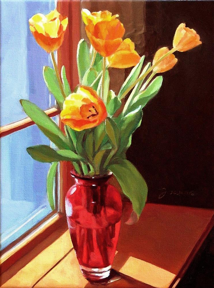 """""""Blooming By The Window--Painting of Yellow Tulips"""" original fine art by Joanna Bingham"""