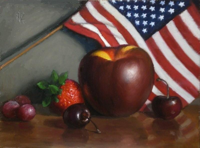 """Fruit and Flag"" original fine art by Debra Becks Cooper"