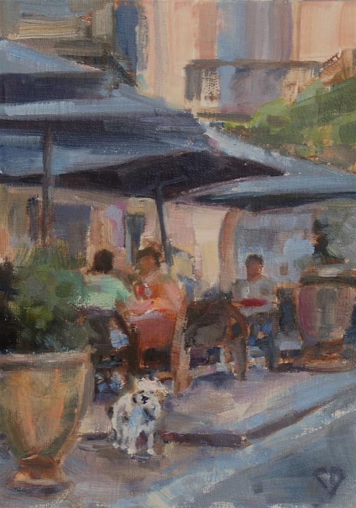 """""""Cafe Painting Original Oil By Carol DeMumbrum"""" original fine art by Carol DeMumbrum"""