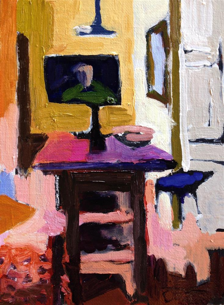 """Yellow Kitchen II"" original fine art by Pamela Hoffmeister"