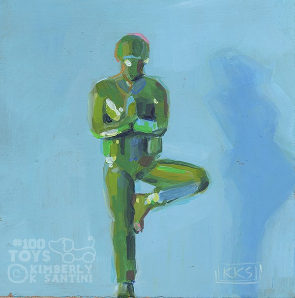 """Broga (Tree Pose), #30 of #100Toys"" original fine art by Kimberly Santini"