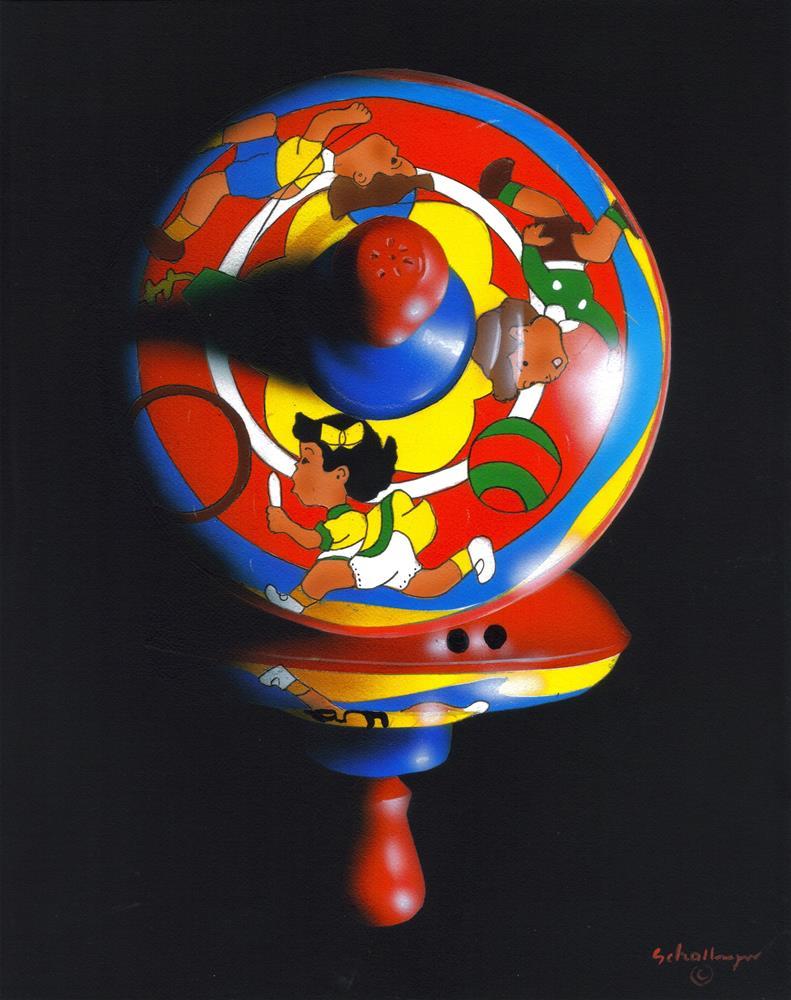 """Kid's Play Top in Shadow"" original fine art by Fred Schollmeyer"