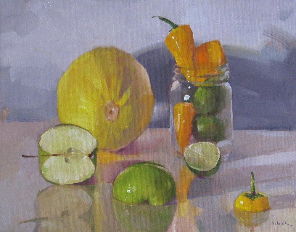 """""""Arrangement in Yellow and Green still life oil painting food vegetable fruit kitchen art"""" original fine art by Sarah Sedwick"""