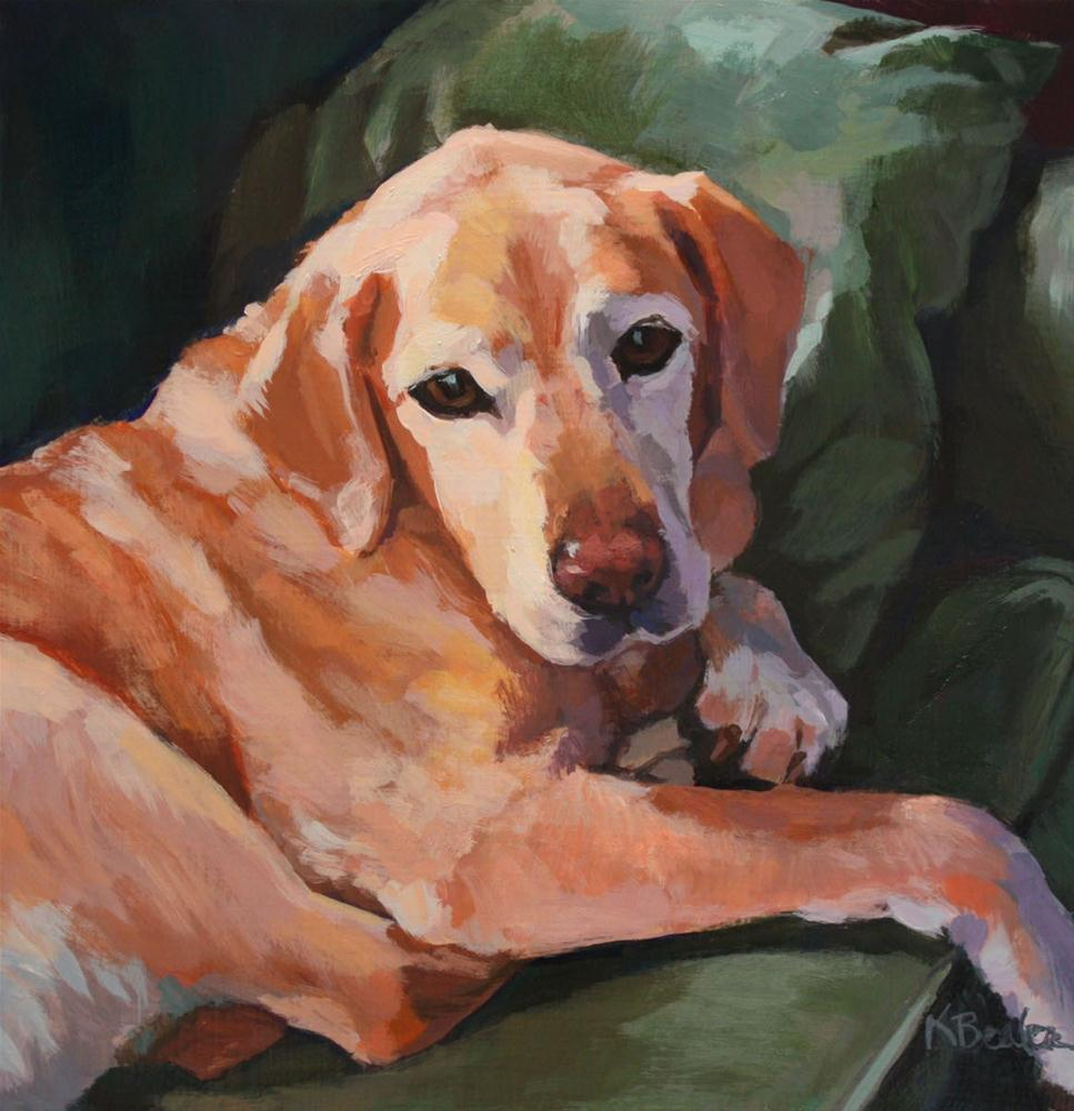 """""""Yellow Lab on Green Couch"""" original fine art by Kaethe Bealer"""