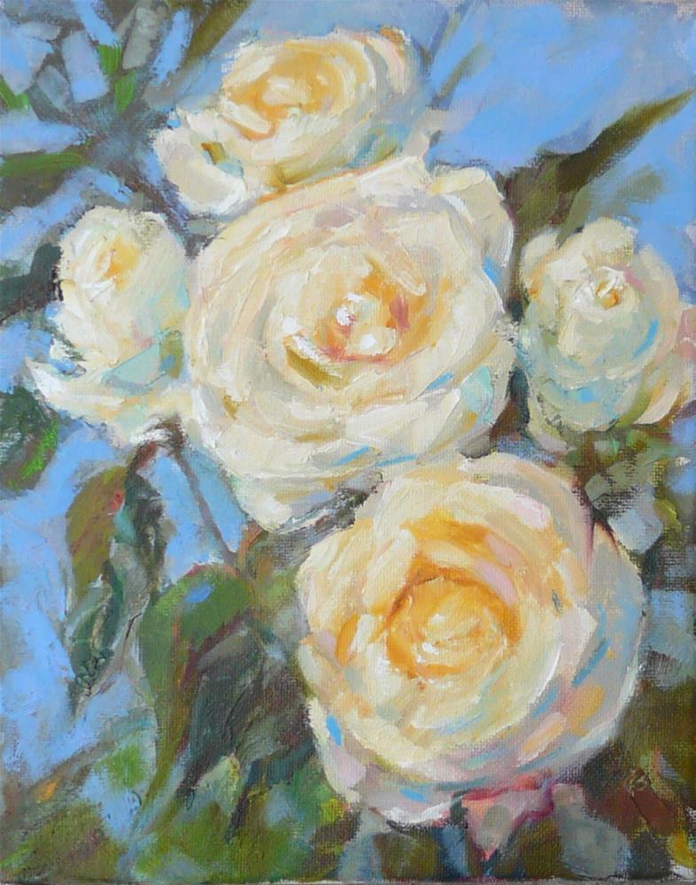 """Late Roses.still life,oil on canvas,10x8,$200"" original fine art by Joy Olney"