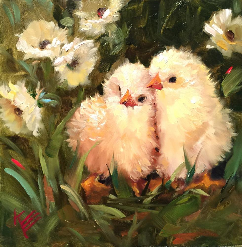 """""""Chicks and Daisies"""" original fine art by Krista Eaton"""