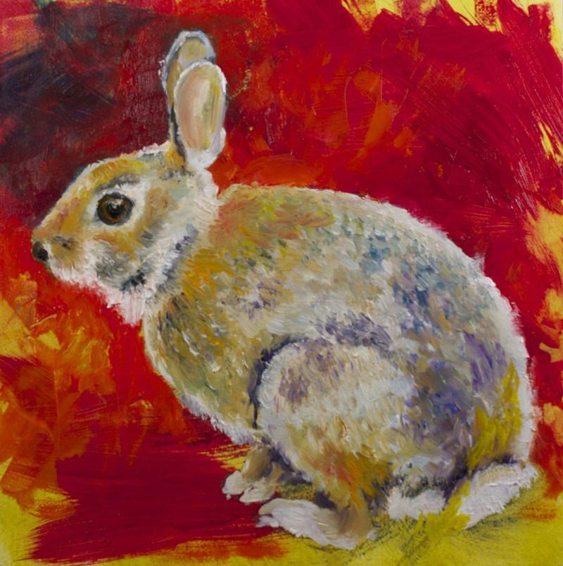 """Rabbit on Multiple Colors"" original fine art by Sue Churchgrant"