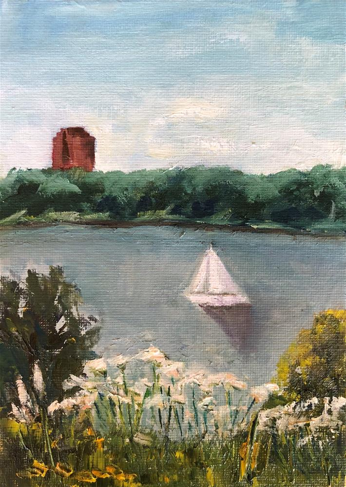 """Sailing White Rock Lake"" original fine art by Renee Robison"