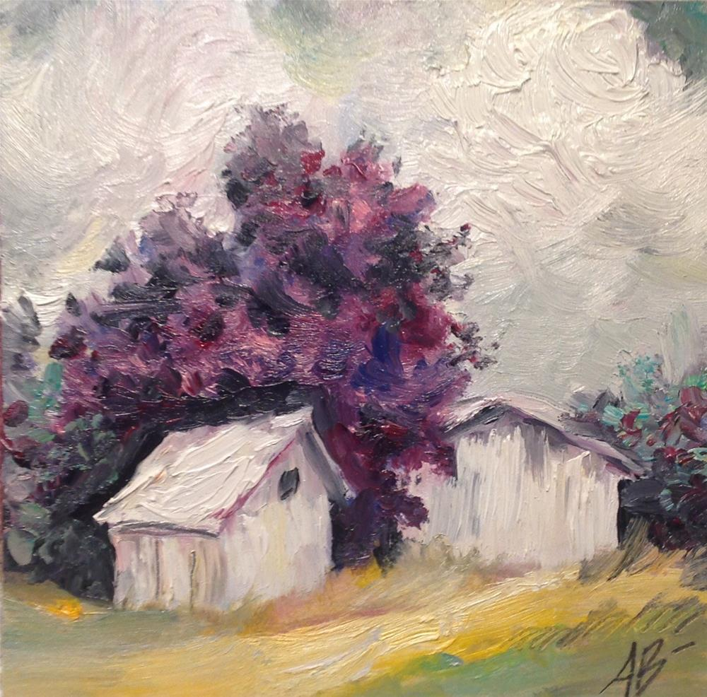 """Country storage sheds"" original fine art by Annette Balesteri"
