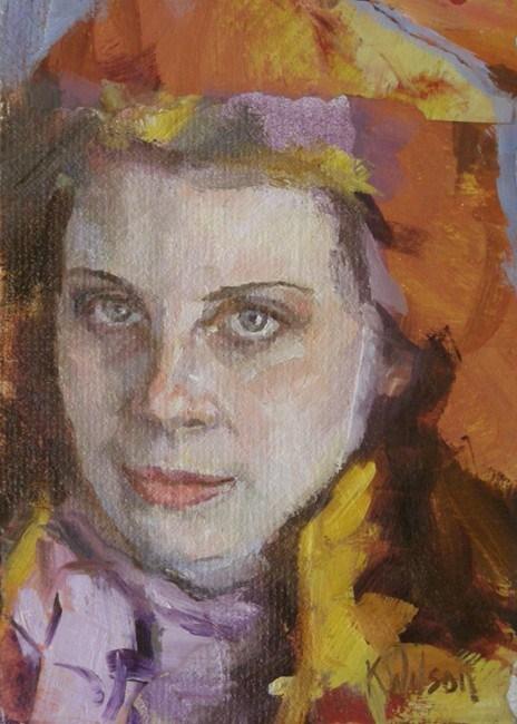 """Purple Scarf"" original fine art by Katie Wilson"