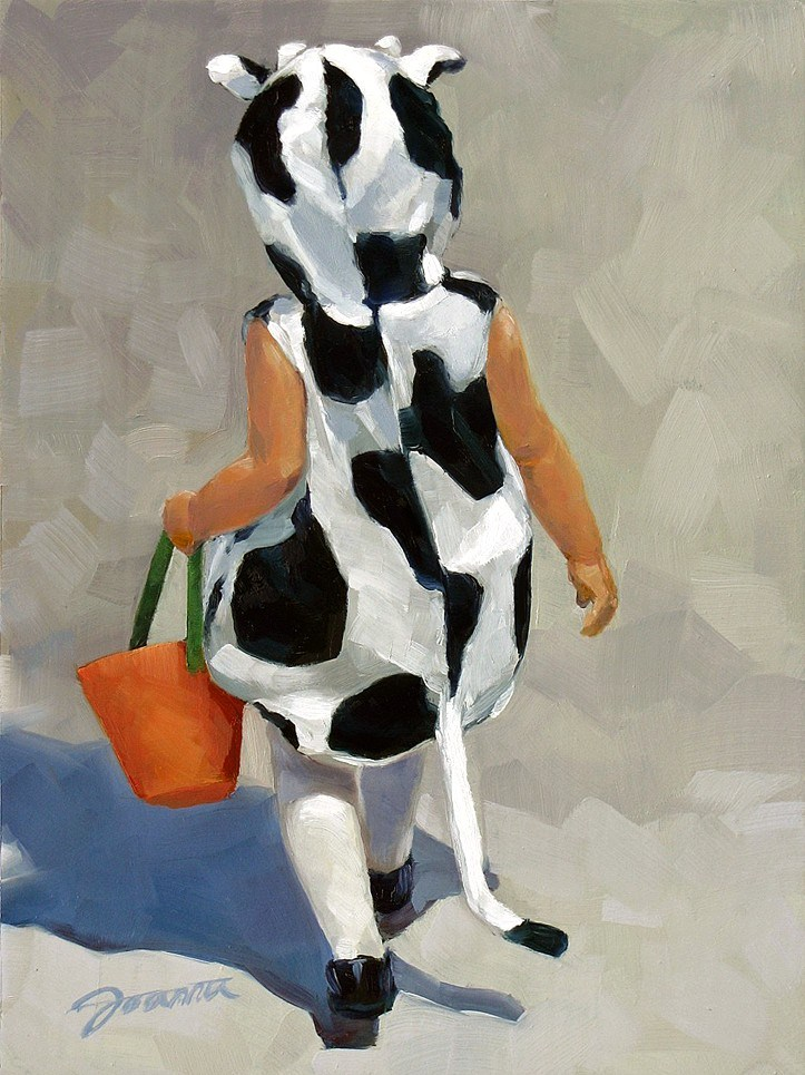 """Moo Moo Is On The Move--Baby Cow Halloween Costume"" original fine art by Joanna Bingham"