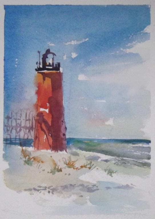 """South Haven Lighthouse"" original fine art by Cedar Kindy"
