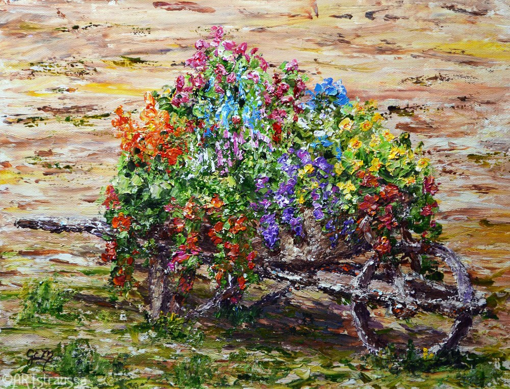 """Wheelbarrow Blooms"" original fine art by Gloria Ester"