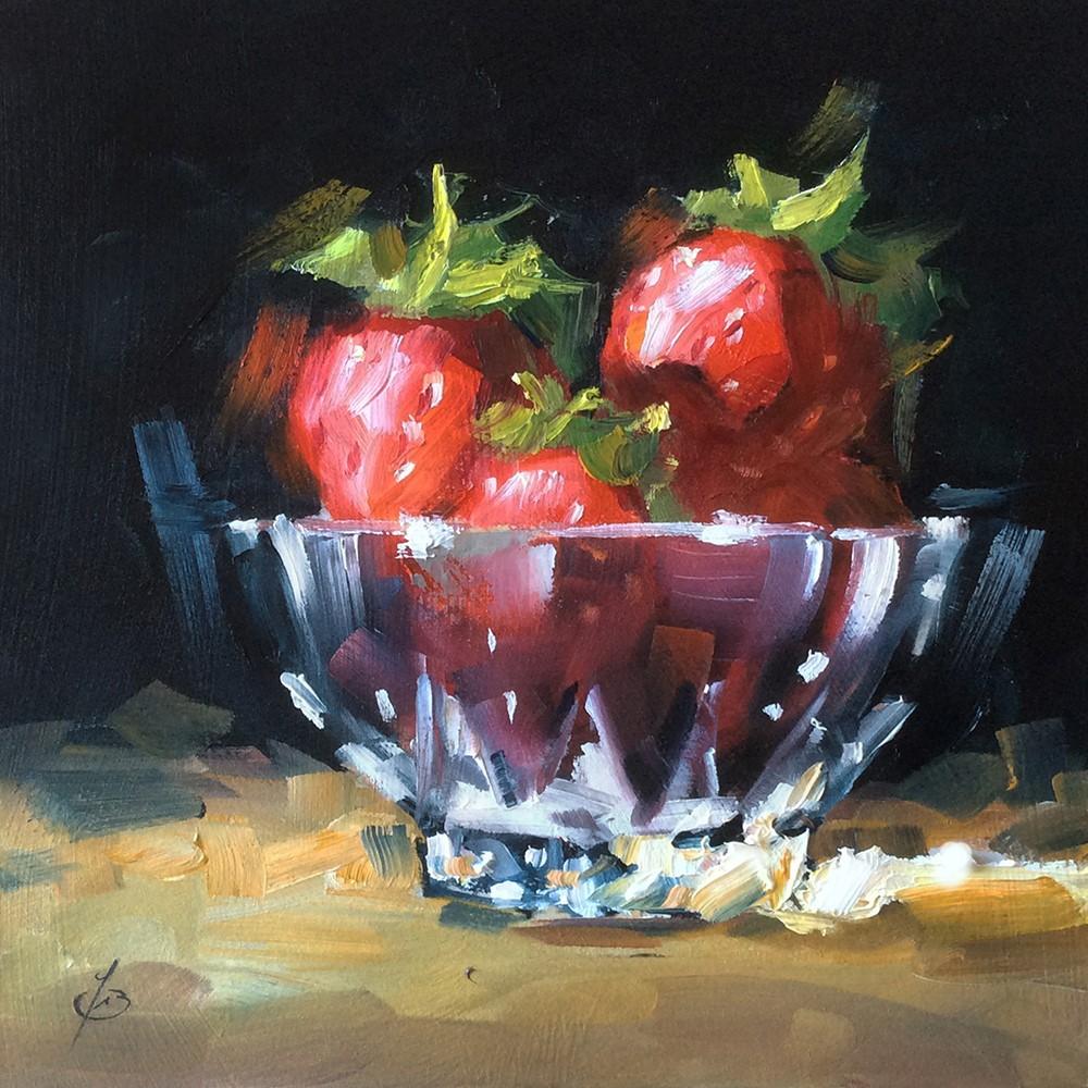 """STRAWBERRIES IN CUT CRYSTAL DISH"" original fine art by Tom Brown"
