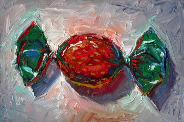 """Strawberry Candy—Double Twist"" original fine art by Raymond Logan"