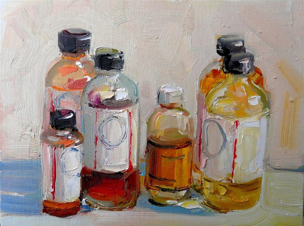 """Paint Mediums,still life,oil on canvas,6x8,price$225"" original fine art by Joy Olney"